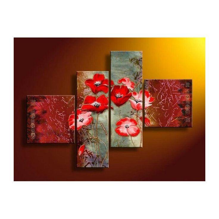 Tableaux fleurs peints sur toile à découvrir sur www.tableaux-online.com