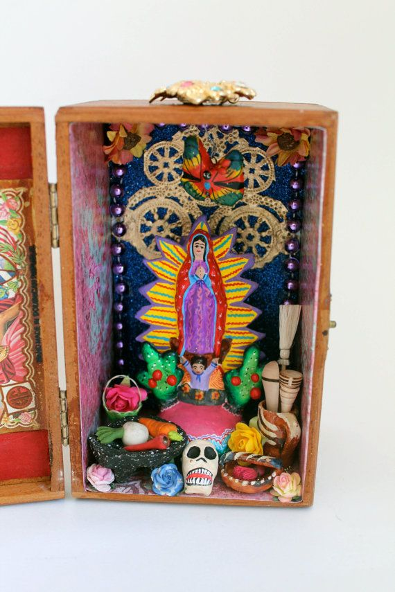 Our Lady of Guadalupe Virgin Mary Mexican folk art shrine JUST A PLAIN WOODEN BOX WITH COVER HINGED DOOR,VERY EASY TO START 1 WITH THIS!!!!!!!!!!!!!!!!!!!!!!!!!!!!!!!!!!!!!
