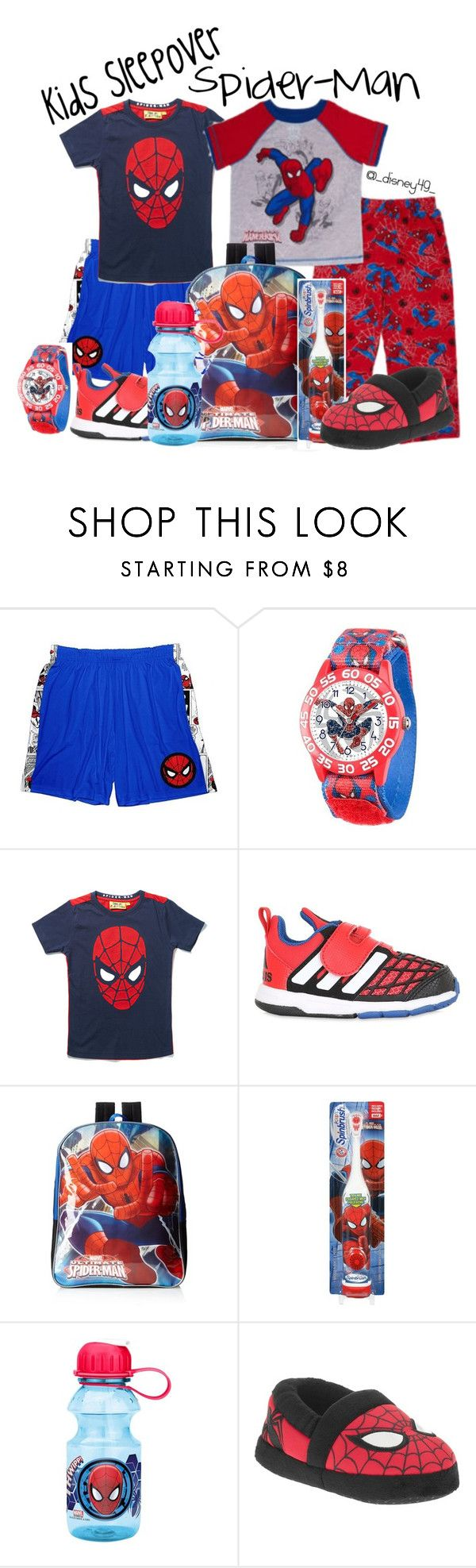 Kids Sleepover: Spider-Man by disney49 ❤ liked on Polyvore featuring Marvel, Fabric Flavours and adidas Originals