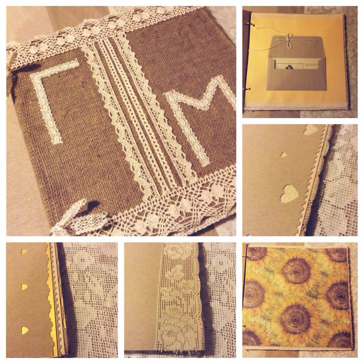 Scrapbook. Scrapbook for wedding wishes. Burlap. Handmade
