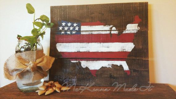 United States Flag Pallet Wood Sign Americana by McKennaMadeIt2013