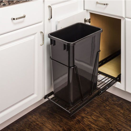 """Single Bin Bottom Mount Pullout Waste Container System, 35 Quart (8.75 Gallon) or 50 Quart (12.5 Gallon), Heavy Duty Black Wire Construction, Cans Sold Separately, Min. Cab. Opening: 15""""W"""