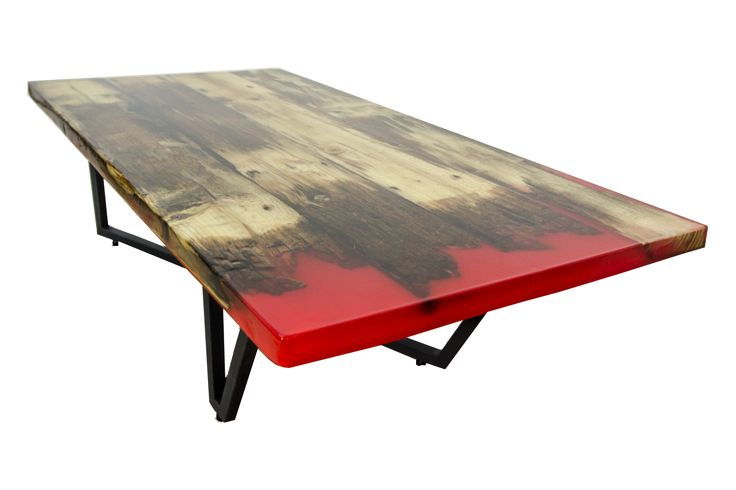 Eclipse - reclaimed wood and red resin elegant coffee table; masa cafea moderna din lemn recuperat si rasina rosie