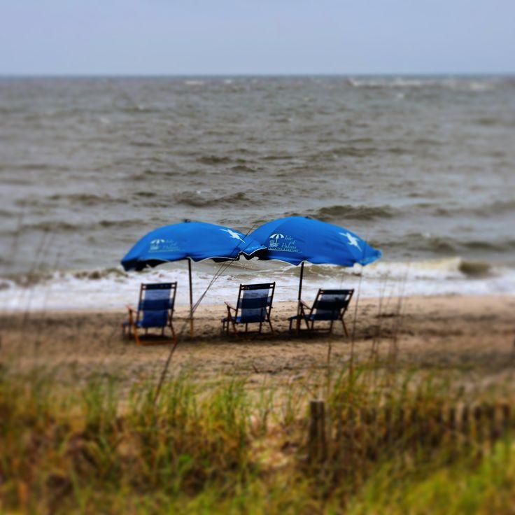 Beach chairs and umbrellas at Wild Dunes Resort, Isle of Palms, SC