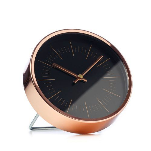 Metal Clock Black & Copper 16cm