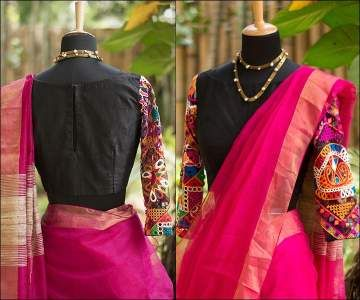 Plain Black Boat Neck Blouse Design With Full Embroidered Kutch Work Sleeves