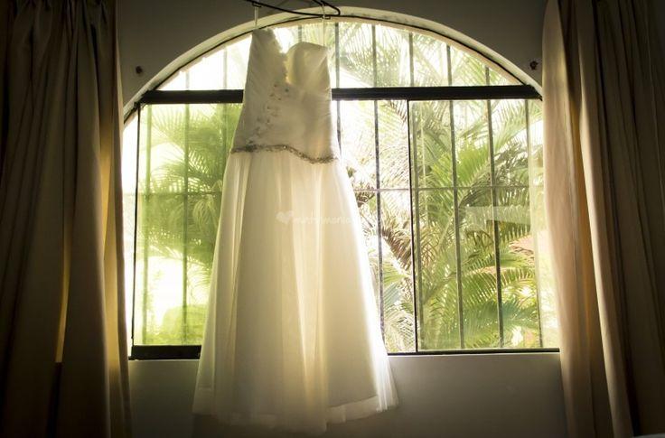 Vestido de novia plisados