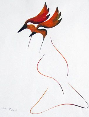 """Benjamin Chee Chee, 1st Nations Canadian: 'Two Birds'  1976, gouche on paper 30""""x22"""""""