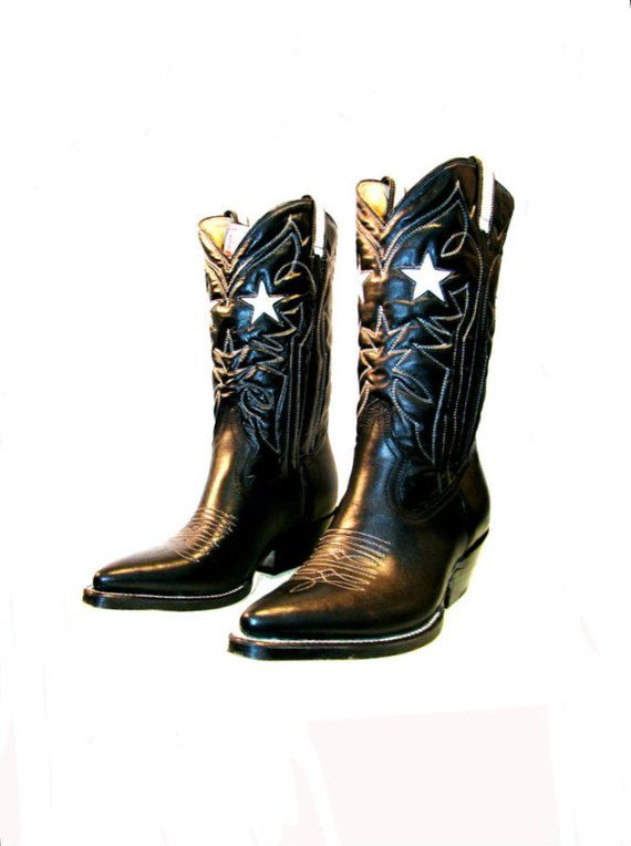 ef75b268095 Vintage Cowboy Boots With White Leather Star Inlay Mens Rockabilly ...