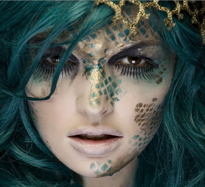 Halloween Makeup mermaid fish scales gold blue | theatre ...