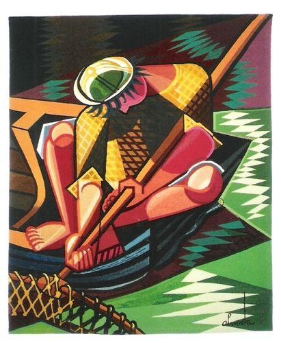 The fisherman, tapestry - Jose de Almada-Negreiros. Note: color palette.