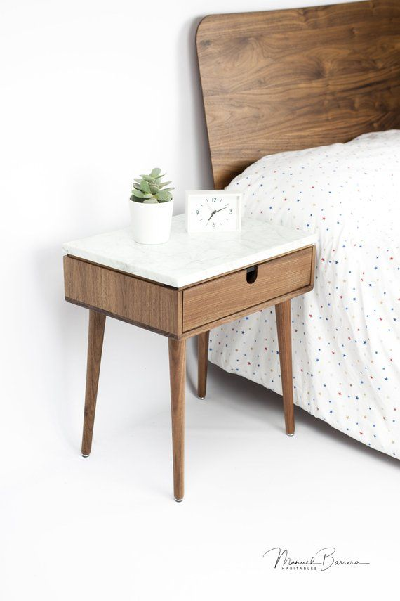 Nightstand With One Drawer In Solid Walnut Oak Board And Top In