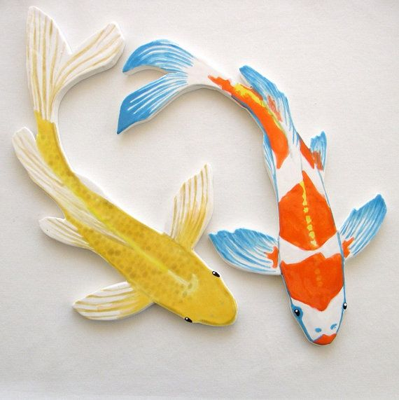 Handmade ceramic mosaic tiles. Handmade, hand painted koi art tile to create your own, worry-free koi pond or display. This listing has been RESERVED, thank you. This listing is for one large yellow butterfly koi --the exact fish shown above. Ready to ship now. Approximately 1/4 thick. Also shown in photos #3, #4 and #5 with an orange and white butterfly koi, available in a separate listing here https://www.etsy.com/listing/104033756/koi-mosaic-tile-ceramic-fi...