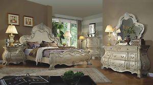 Formal-Traditional-Antique-White-Bedroom-Set-Queen-Bed-Dresser-Mirror-Nightstand