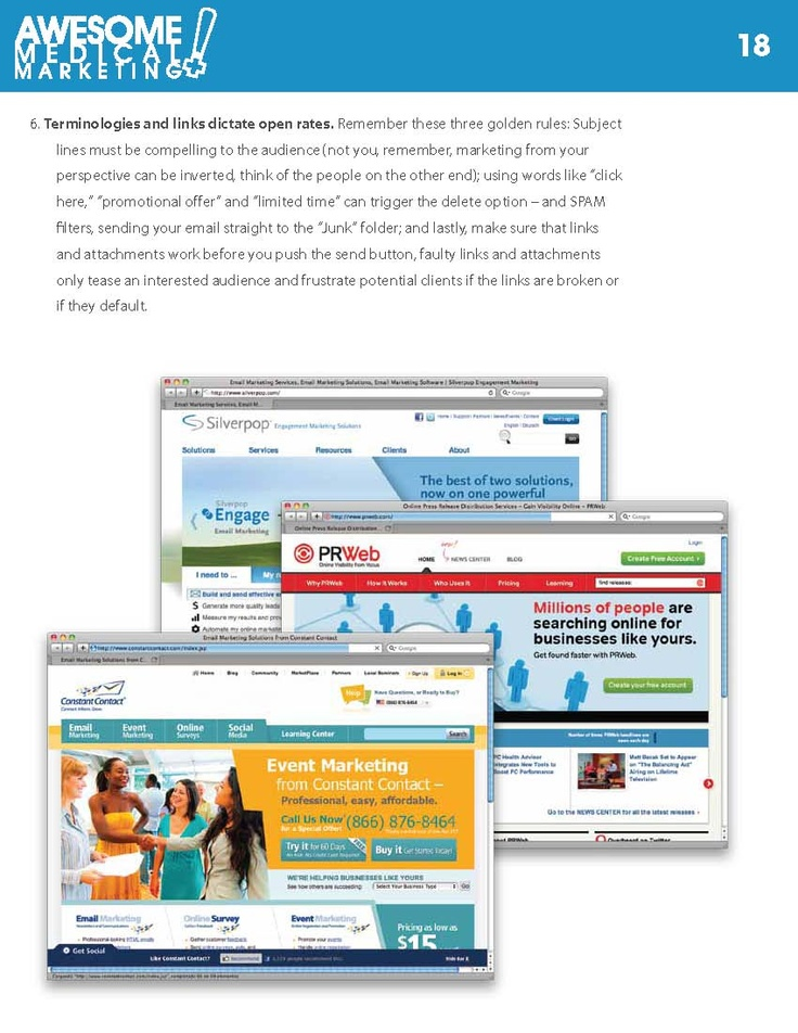 """using words like """"click  here,"""" """"promotional offer"""" and """"limited time"""" can trigger the delete option – and SPAM  filters, sending your email straight to the """"Junk"""" folder  www.AwesomeMedicalMarkteting.com"""