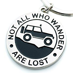 "JEEP GIFT IDEA: Key Chain for Jeep Enthusiasts ""Not All Who Wander Are Lost"" Great Advice and Gift Idea For Any Jeep Owner! Built by Wrench & Bones for Jeep Wrangler Accessories Enthusiasts"