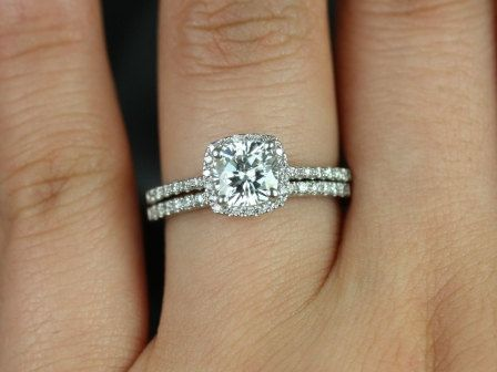 Barra Petite Size 14kt White Gold Thin FB Moissanite Cushion Halo Wedding Set (Other metals and stone options available)