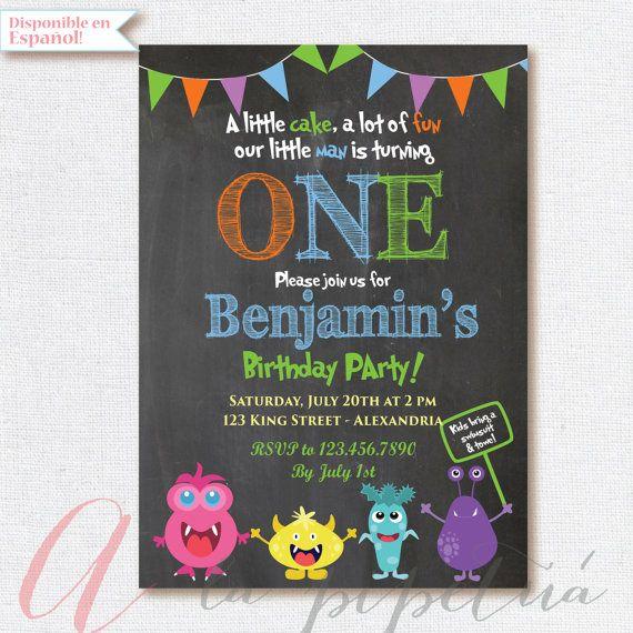 Little monsters Birthday invitation . Chalkboard invitation.  Little monsters invite. Monsters invitation. Printable monster invitation