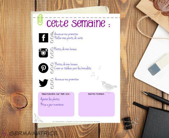 Ma To do list pour réseaux sociaux  FRANÇAIS  par LaGermainatrice