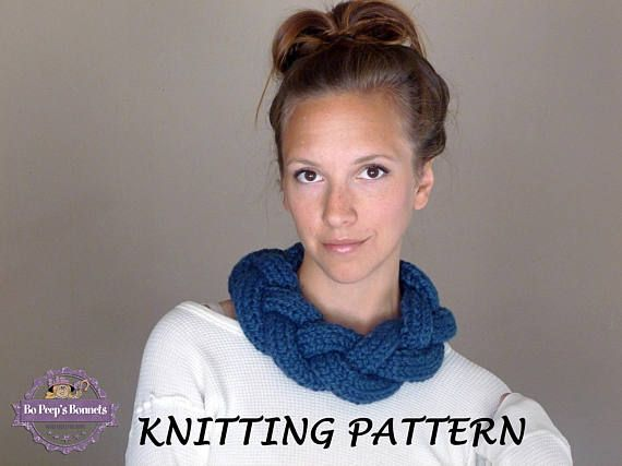 Braided Scarf KNITTING PATTERN Braided Cowl Knit Pattern by BoPeepsBonnets