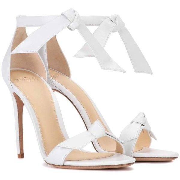 Alexandre Birman Clarita Leather Sandals (685 SGD) ❤ liked on Polyvore featuring shoes, sandals, heels, zapatos, white, white leather sandals, white heel shoes, white sandals, leather heeled sandals and high heels sandals