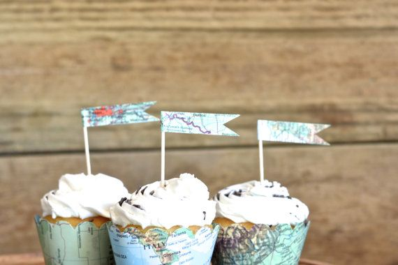 Hey, I found this really awesome Etsy listing at https://www.etsy.com/listing/231811718/vintage-map-cupcake-flags