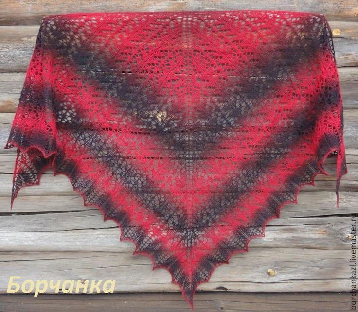 Купить Шаль Кармен вязаная спицами из 100% шерсти красная черная - ажурная шаль