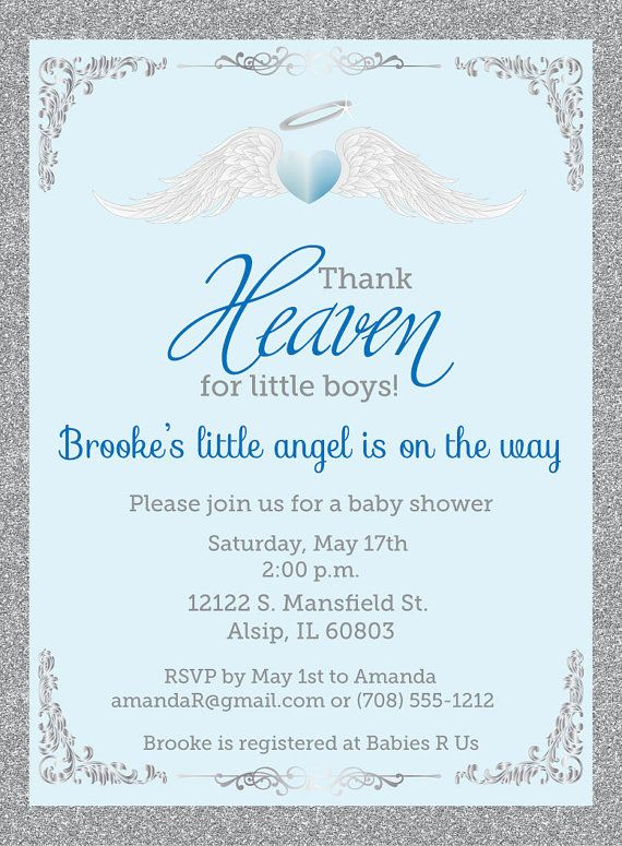 Thank Heaven For Little Boys Baby Shower Invitations Unique Baby