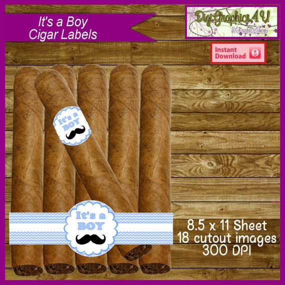 Delightful Baby Shower Cigars Part - 11: Itu0027s A Boy Cigar Labels Baby Shower Printable By DigiGraphics4u