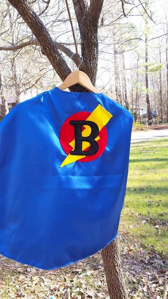 Superhero Cape Single Layer Personalized Initial Cape Superhero Party Favor by littleshepsters on Etsy
