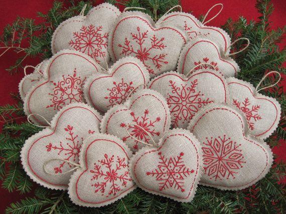 Flocon de neige en lin coeur Noël ornements /Bowl brodé charges Redwork/ferme Noël