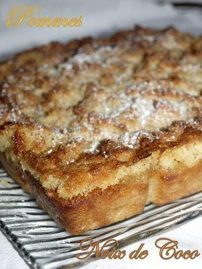 Aujourd'hui je vous propose un gâteau aux pommes que j'ai trouvé chez Chrystel , on a adoré avec ce croustillant de noix de coco , à refaire...