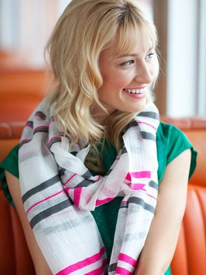 Beth Behrs in a Lemlem scarf
