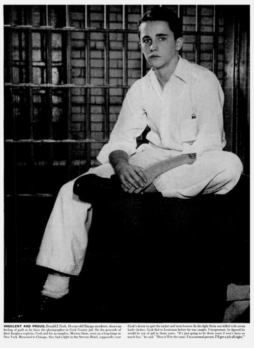 Donald J. Cook, 16-year-old Chicago murderer, in Cook County jail.