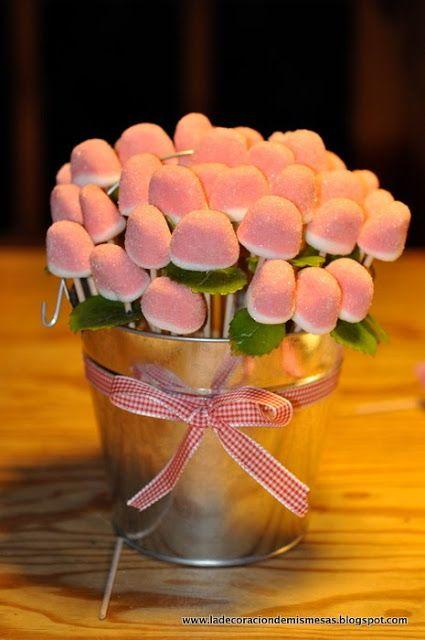 Flores de gominola para hacer centros de mesa