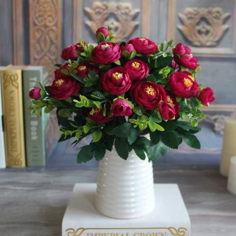 New Multi Color Realistic 6 Branches Spring Artificial Fake Peony Flower Arrangement Home Table Room Hydrangea Decor - Hespirides Gifts - 4