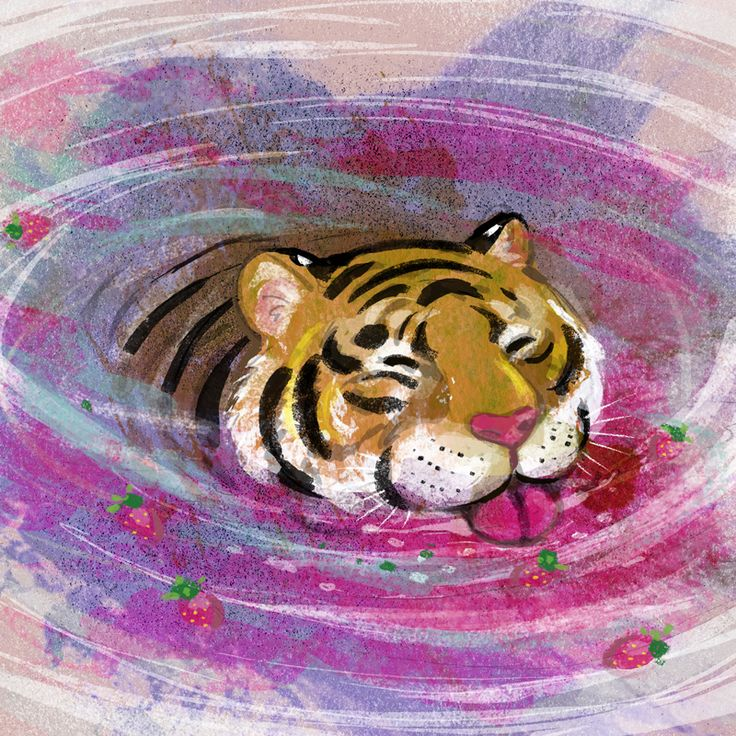 Strawberry milkshake tiger, created for colour collective on twitter. The colour theme was shocking pink.