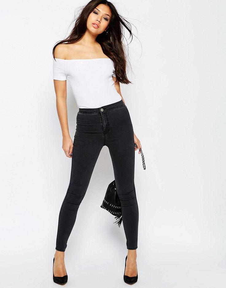 Immagine 4 di ASOS - Rivington - Jeggings di jeans a vita alta nero slavato