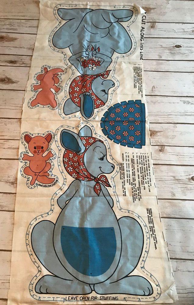 Vtg Cut Sew Fabric Panel Kangaroo Mom Baby Roo Joey Pillow Toy