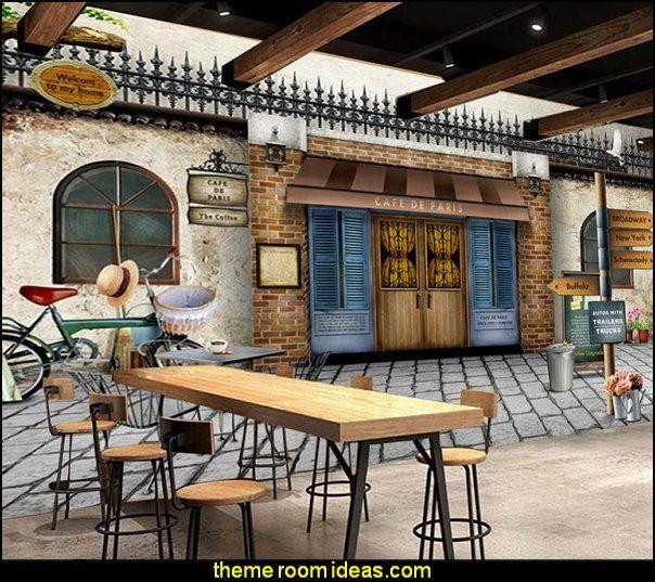 European mural nostalgic retro cafe French cafe Paris Bistro ...