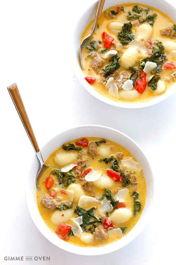 Creamy Gnocchi Soup with Kale and Spicy Italian Sausage