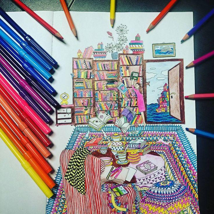 """""""Pokój pełen kolorów  #Wyspy #kolorowanie #koloruje #kolorowanka #beautiful #anitagraboś #colorful #relax #art #color #coloringbook #kolorowanki…"""""""