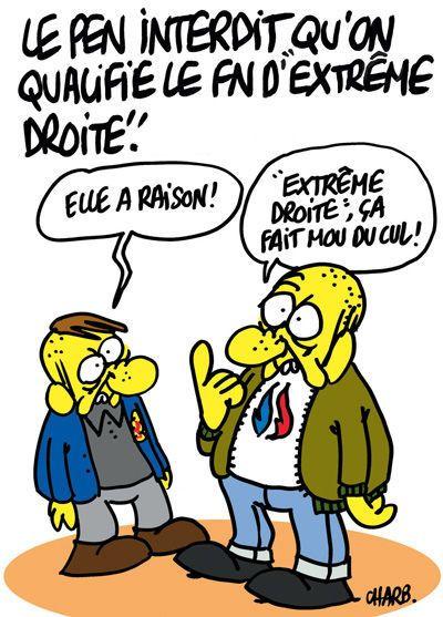 """Le Pen interdit qu'on qualifie le FN """"d'extrême droite"""" - Charb - Charlie Hebdo"""