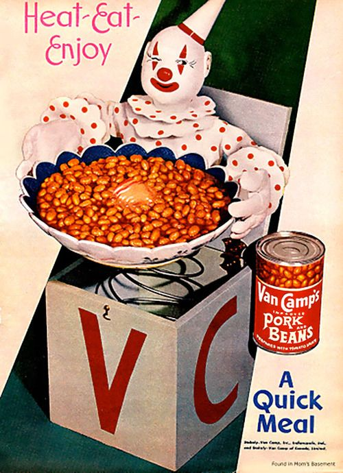 Van Camp's Pork and Beans ad. Heat-Eat-Enjoy.