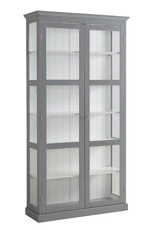 af lakeret MDF og transparent glas. Glas på hele kortsidend er slipper lys ind . Mål: 195x35x100 cm. Lev. usamlet. Fragtvægt 64,5 kg. <br><br>