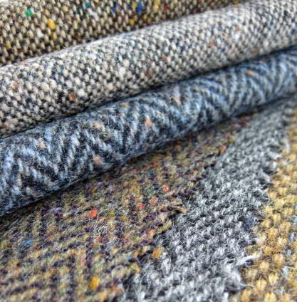 donegal tweed - reams of tweeds, one on top of the other;  dreamy....