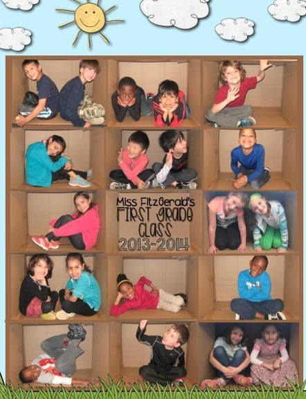 Class picture collage in a cardboard box!