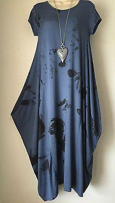 Quirky-Lagenlook-Tulip-hem-Tunic-dress-One-size-12-16-Denim-Blue-Charcoal
