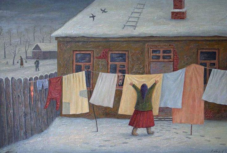 "В.Любаров - ""Приморозило"": Clotheslines, Vladimir Lubarov, Artwork Paintings Illustration, Slavic Art, Art Snow, Art Vladimir, Laundry Art, Hanging Laundry, Art Laundry"