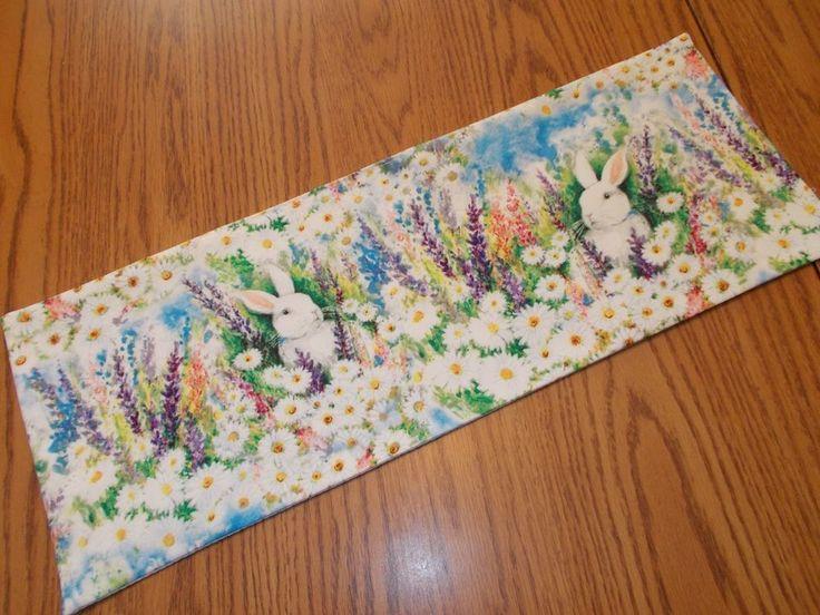Spring bunny Easter floral MINI table runner decor Toilet Tank Topper handmade  #Handmade #Handmade